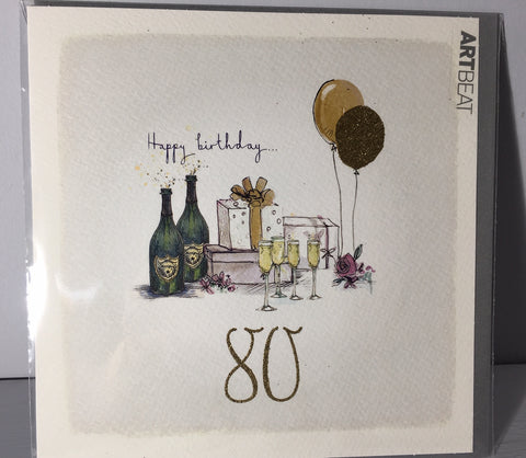 Ladies 80th Birthday Card - Presents at 80