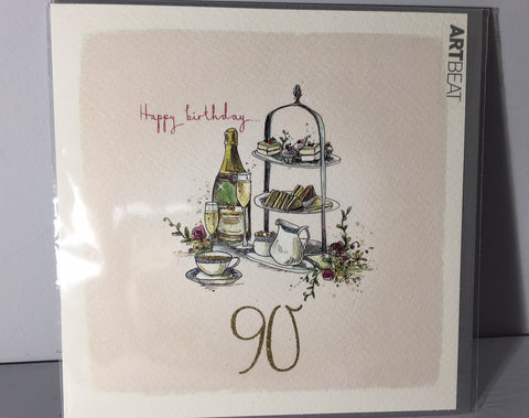 Ladies 90th Birthday Card - High Tea at 90