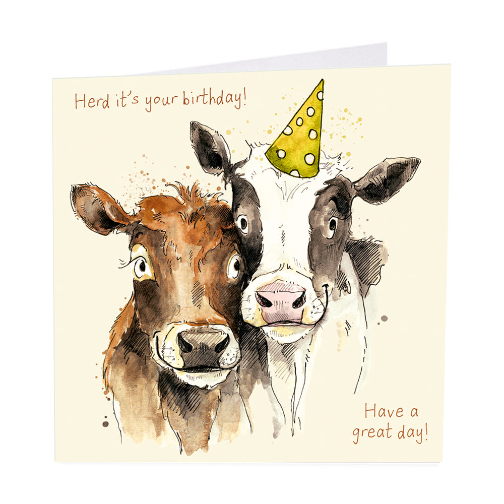 The Herd - Cow Birthday Card - Art Beat