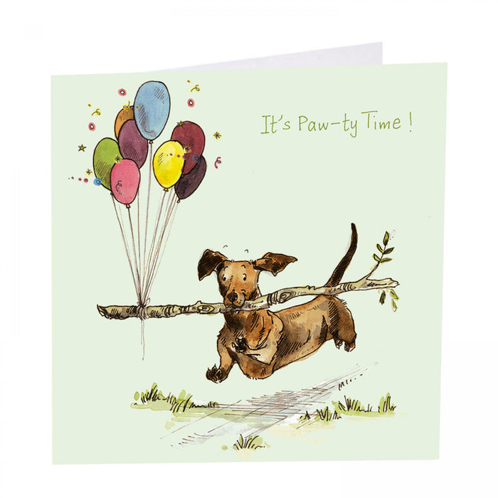 Dog Birthday Card - It's Paw-ty Time!  Art Beat