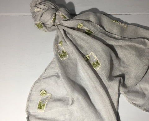 Gin and Tonic Scarf - Grey