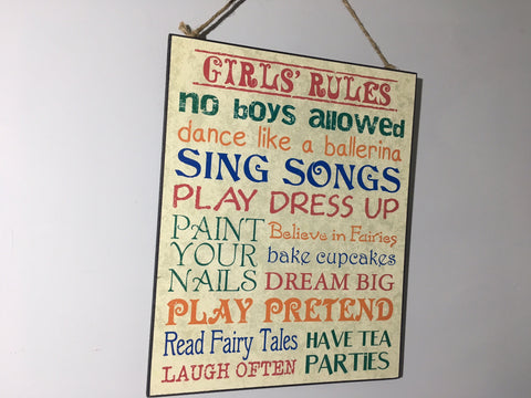 Girls Rules Wall Plaque - Fun Little Girl / Christening Gift