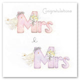 Same Sex Wedding Card - Mrs & Mrs