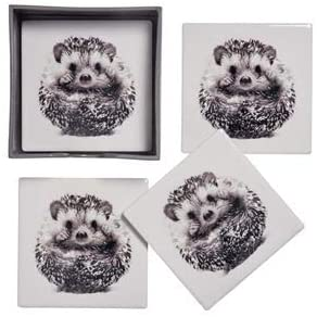 Hedgehog Coasters - Set Of Four Ceramic Coasters in box