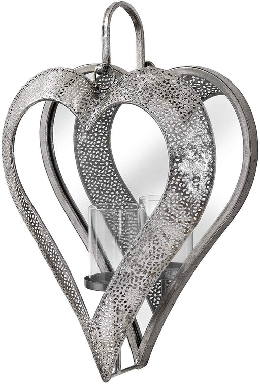 Wall Candle Holder - Antique Silver Filigree Mirror Heart