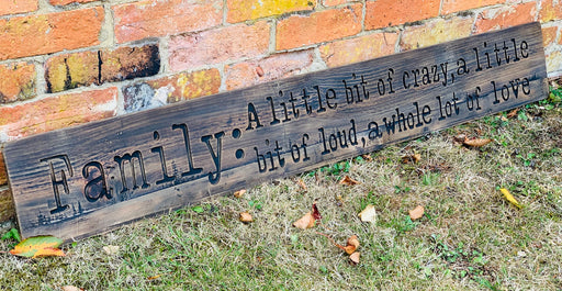 Large Family Rustic Wooden Message Plaque