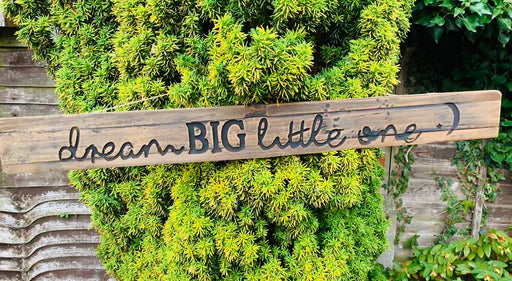 Large Dream Big Rustic Wooden Message Plaque
