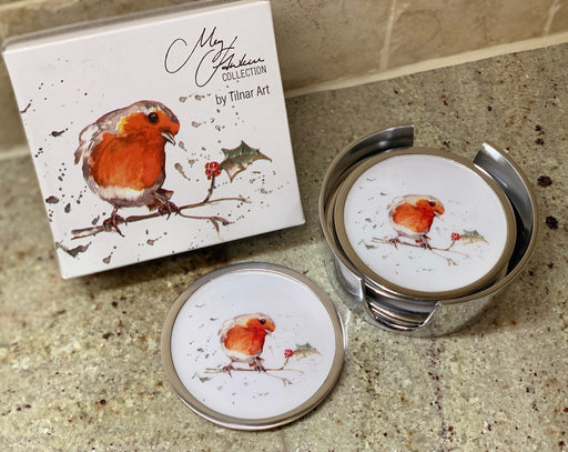 Robin & Holly Christmas Coasters set of 6 - Meg Hawkins