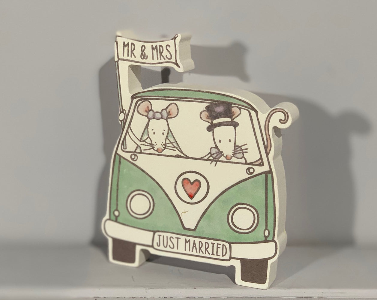Just Married Mr & Mrs Mouse in Campervan