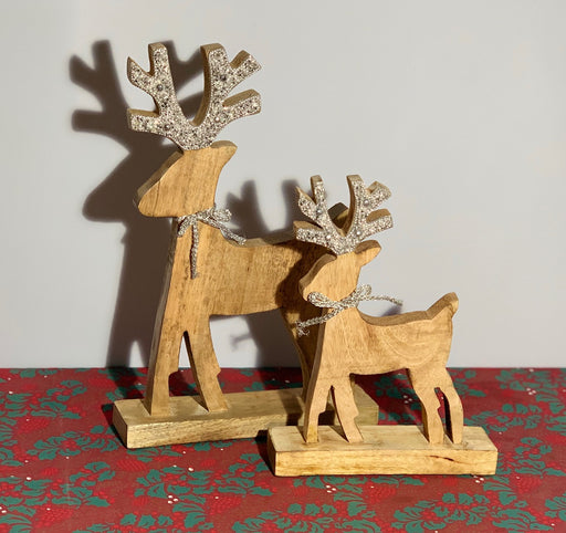 Silver Beaded Inlay Wooden Reindeer - Two Sizes