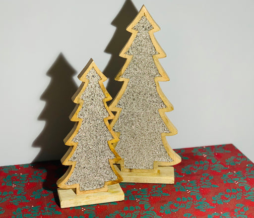 Silver Beaded Inlay Wooden Christmas Tree - Two Sizes