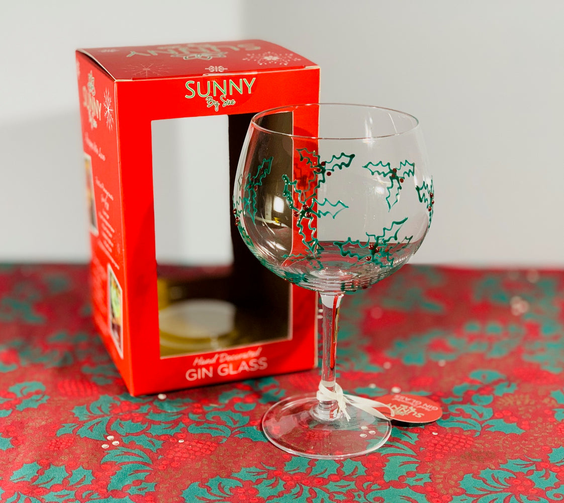 Christmas Gin Goblet - Gin Glass, Christmas Holly - Sunny By Sue