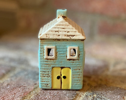 Cornish Village Pottery Lantern Aqua House, Yellow Door