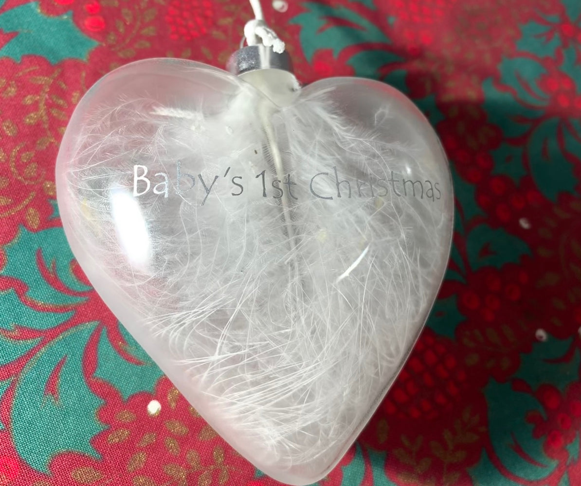 Baby's 1st Christmas Heart Feather Bauble
