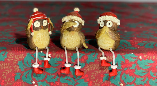 Christmas Owls - Hear no evil, See no evil, Speak no evil, Bird Decorations