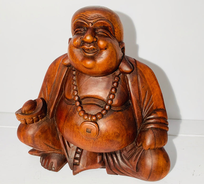 Extra Large Carved Wooden Happy Buddha