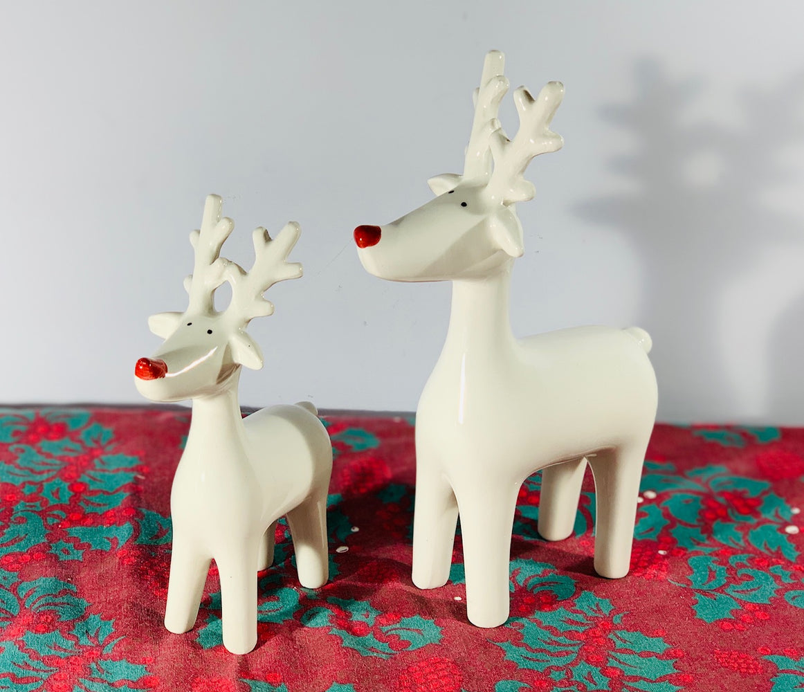 White Ceramic Red Nosed Reindeer - 2 Sizes