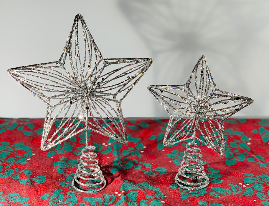 Christmas Tree Top Star Topper Glitter Hanging Finish 20cm Star For Top Of Tree