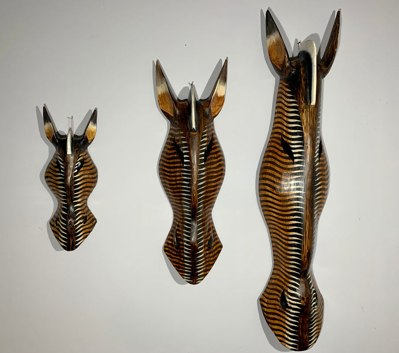 Hand Carved African Zebra Tribal Mask - Dark Zig Zag - 50cm