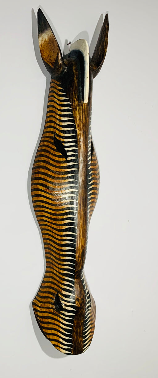 Hand Carved African Zebra Tribal Mask - Dark Zig Zag - 80cm