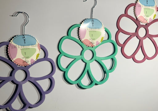 Set of Three Flower Scarf Hangers Lilac / Mint / Pink