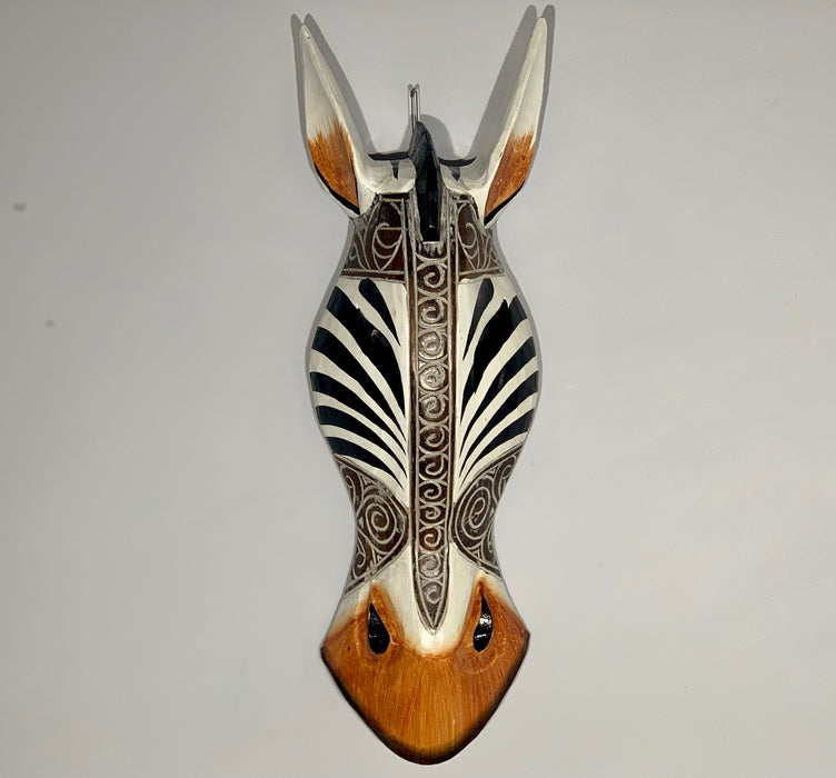 Hand Carved Swirl Black and Cream Zebra Tribal Mask - 50cm