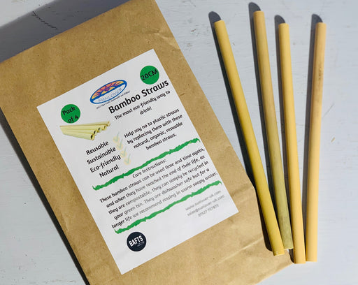 Bamboo Drinking Straws - Pack of 4 - 20cm