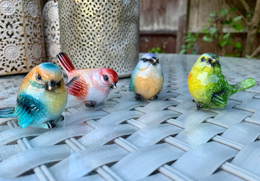 Garden Birds Set of 4 - Colourful Mini Garden Bird Statues