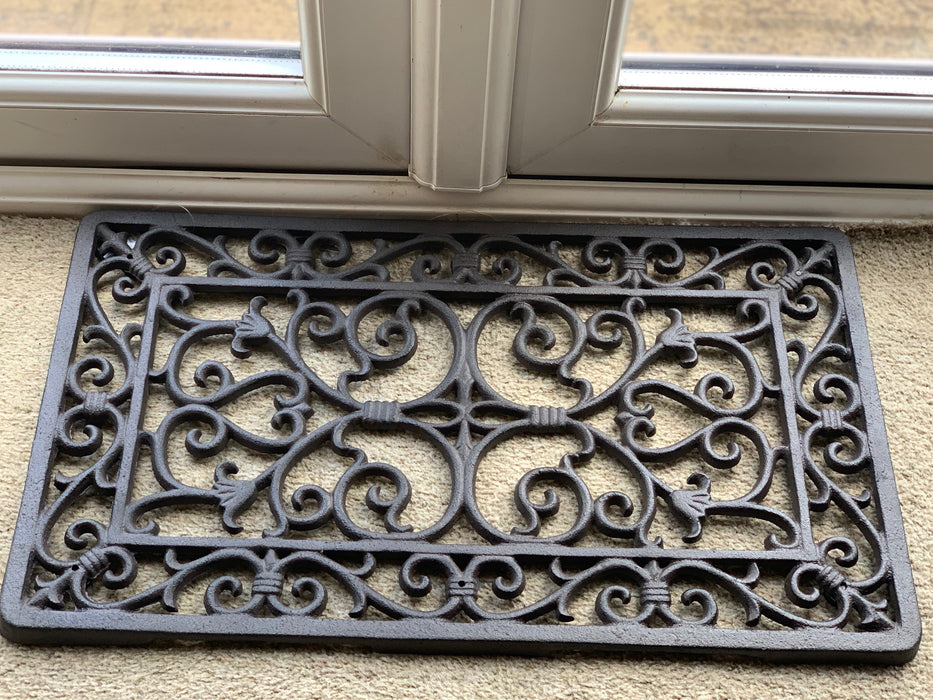 Cast Iron Rectangular Ornate Door Mat