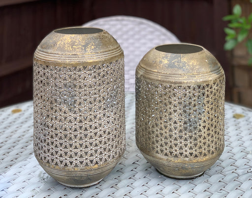 Gold Drum Moroccan Style Candle Lanterns