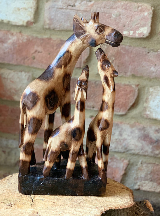 Hand Carved Wooden Giraffe Family