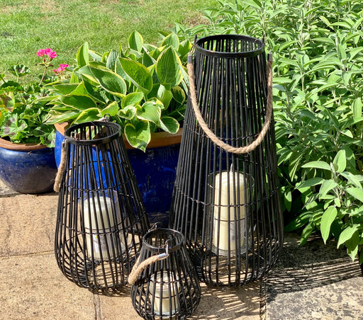 Domed Black Rattan Lantern - 3 Sizes