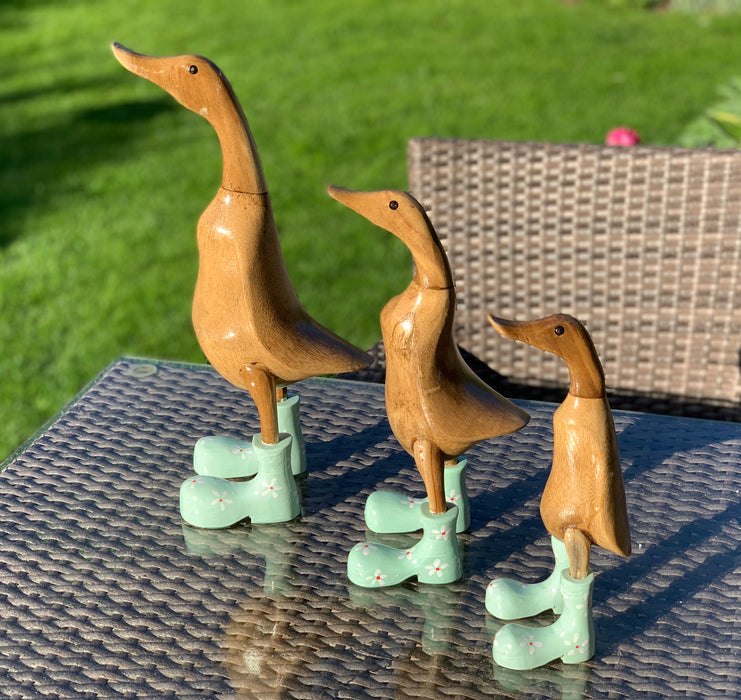 Bamboo Duck Family with Flower Painted Boots - Green