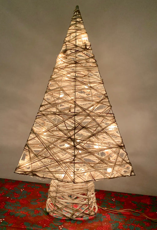 Woven Pointed White Gold Light Up Christmas Tree - 60cm