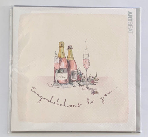 Congratulations Card - Pink Champagne - Art Beat