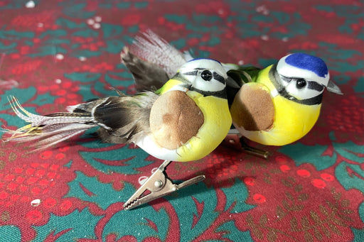 Pair of Blue Tits on Clips - Bird Christmas Tree Decorations
