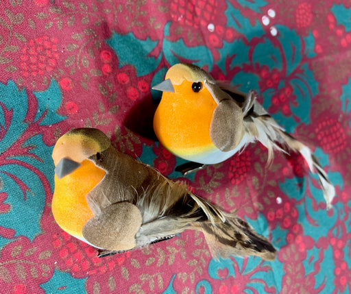 Pair of Robins on Clips - Christmas Tree Decorations