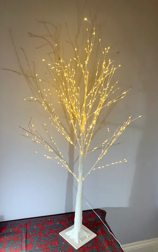 Light Up LED White Glitter Christmas Tree 120cm