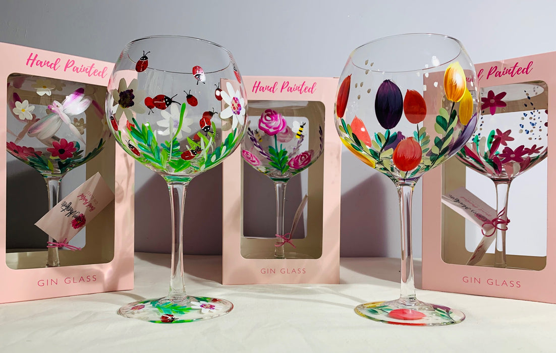 Hand Painted Gin Glass - Wild Flowers