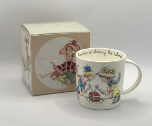 Friend Mug - Friendship is sharing the calories! - Berni Parker Bone China Mug, Designed and Made in the UK
