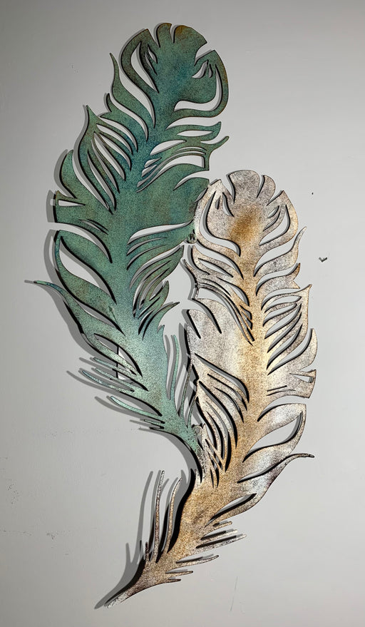 Jade Feather Metal Wall Art