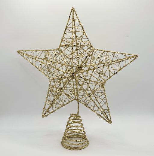 Gold Beaded Glitter Star Tree Topper - 30cm