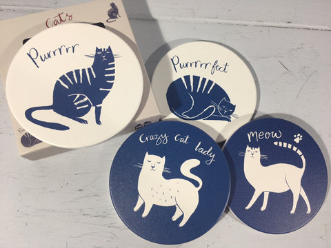 Cat Coasters - Set of 4 - Crazy Cat Lady!