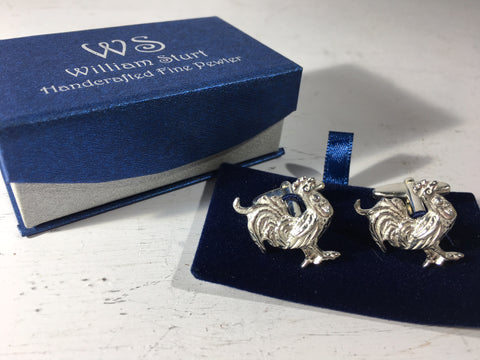 Cockerel Cuff Links - Fine Pewter