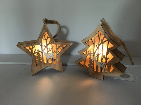 Hanging Light Up Wooden Christmas Tree