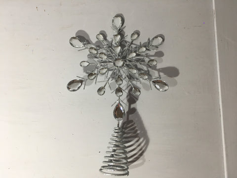 Silver Jewel Snowflake Tree Topper - Christmas Tree Star