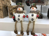 Shelf Sitting Pair of Glittery Snowmen