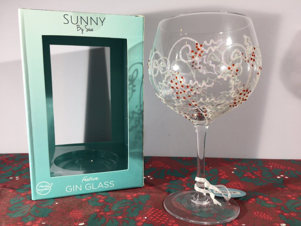 Christmas Gin Goblet - Gin Glass, Holly Berry - Sunny By Sue