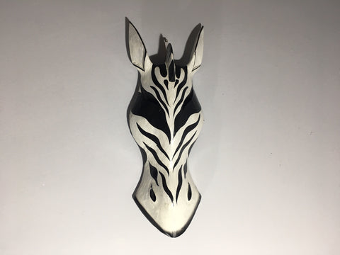 Wild Zebra Hand Carved Black and White Tribal Mask - 30cm