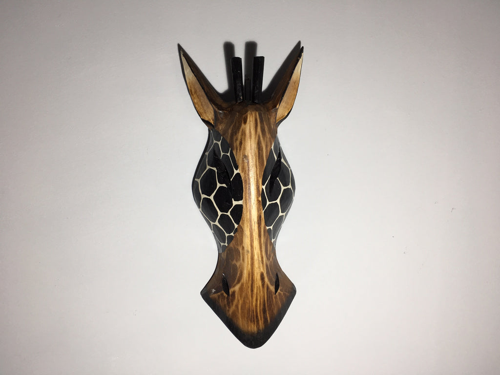Hand Carved Wooden Giraffe Tribal Mask - 30cm